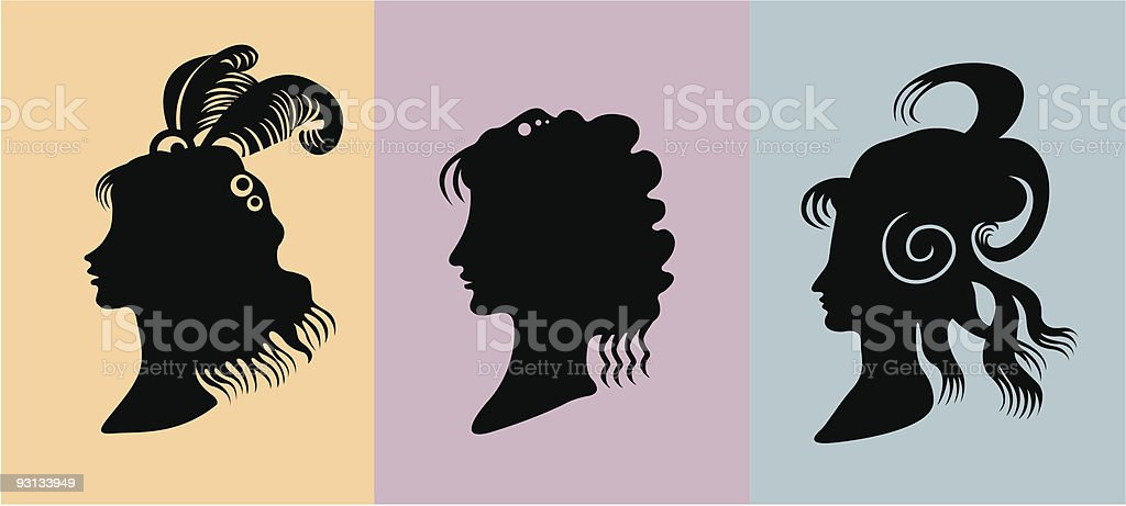 Silhouette of  girls royalty-free stock vector art