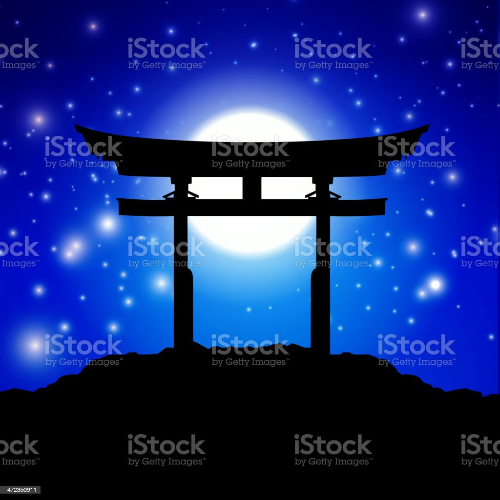 Silhouette of Japanese gate against starry blue sky royalty-free stock vector art