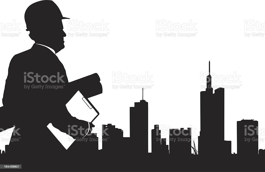 Silhouette of male engineer looking at buildings royalty-free stock vector art