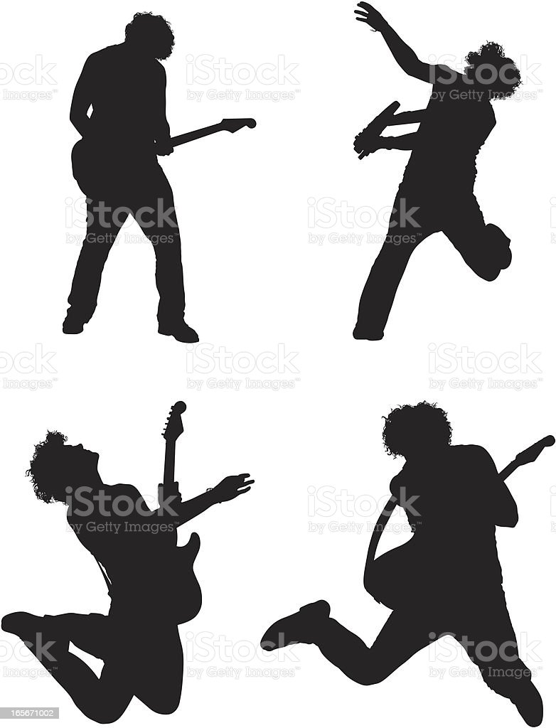 Silhouette of man playing guitar vector art illustration