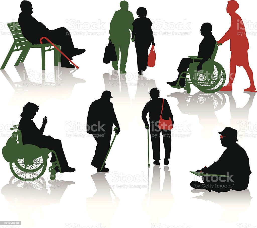 Silhouette of old and disabled people royalty-free stock vector art