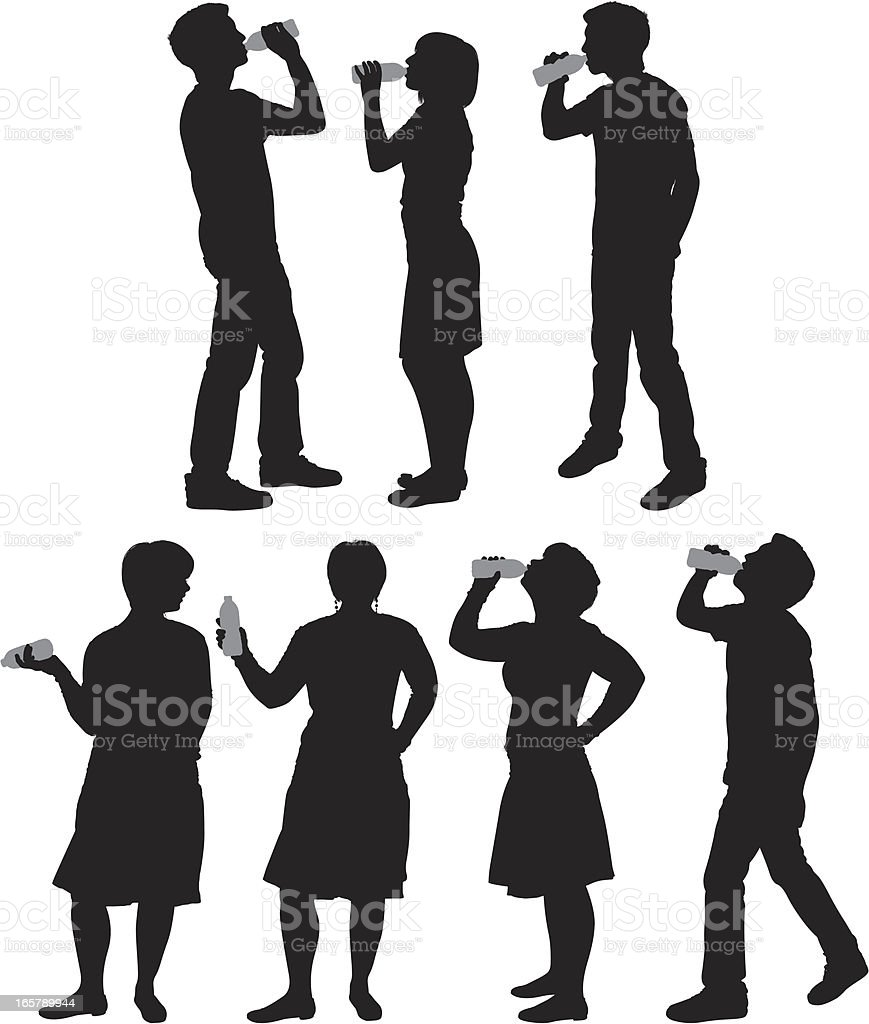 Silhouette of people drinking vector art illustration