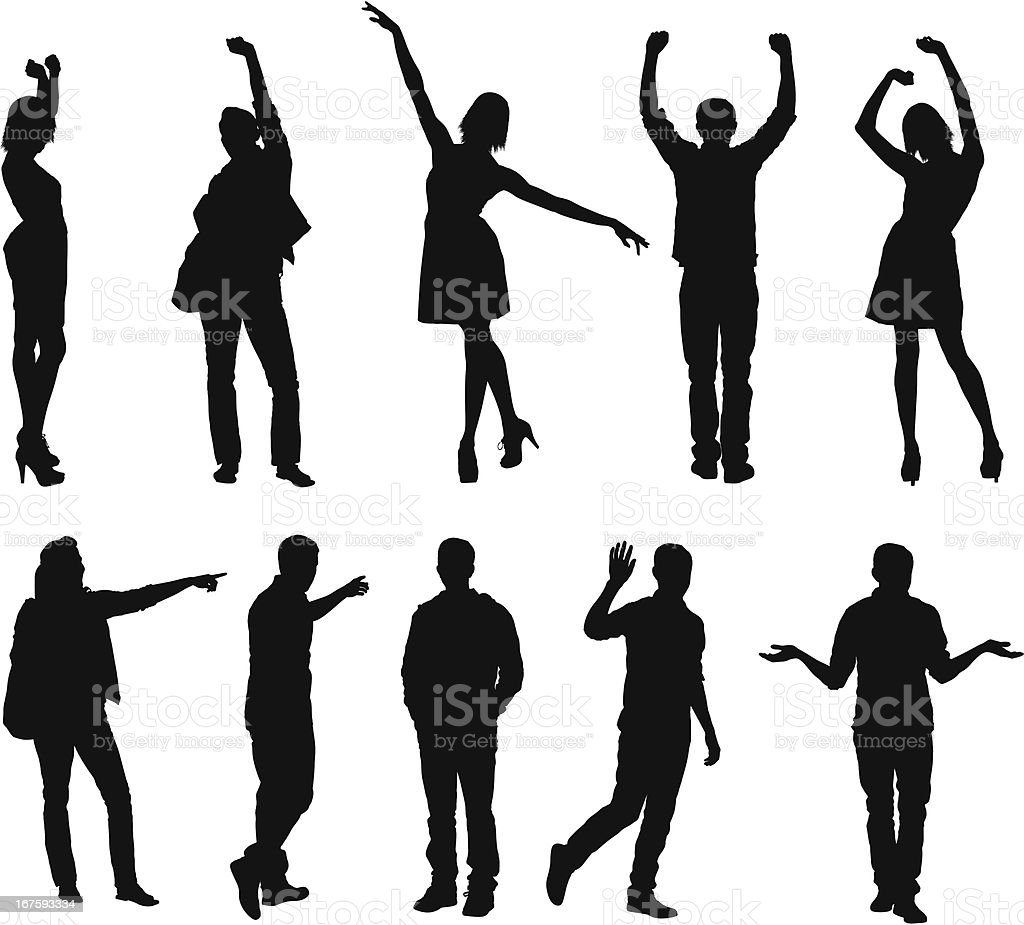 Silhouette of people gesturing vector art illustration