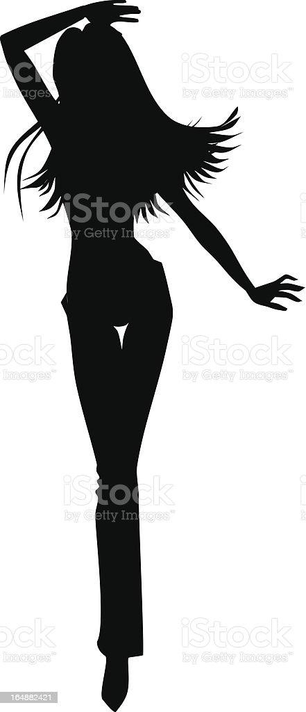 Silhouette of the girl vector art illustration