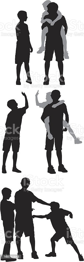 Silhouette of three boys playing vector art illustration