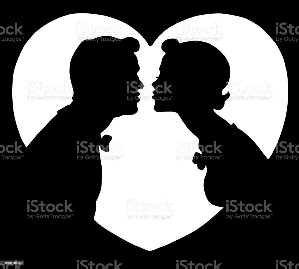 Silhouette of Two People Kissing vector art illustration