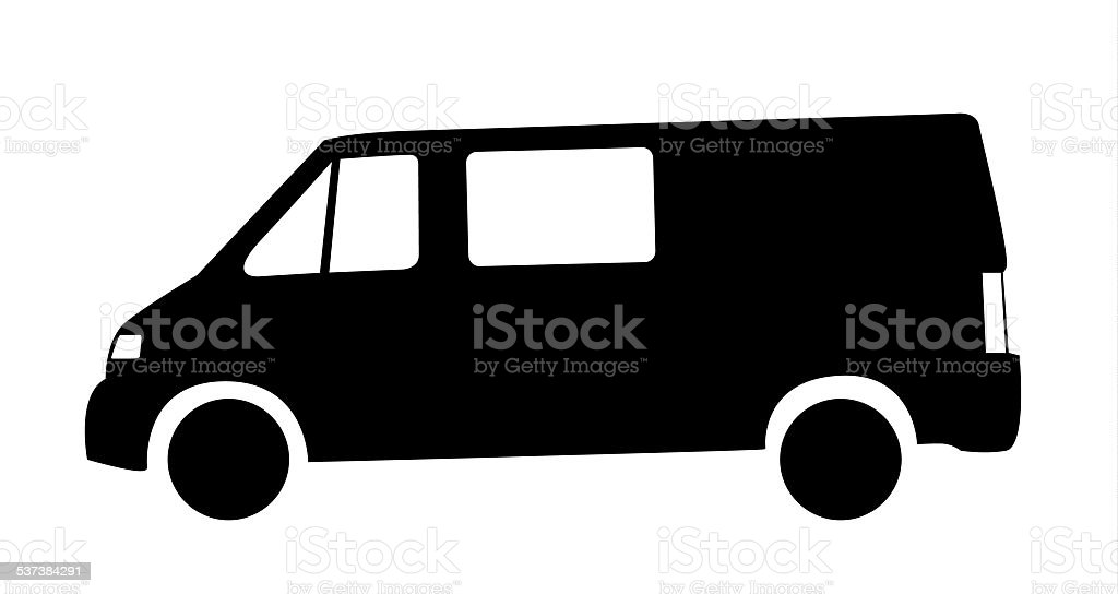 Silhouette of van car vector art illustration