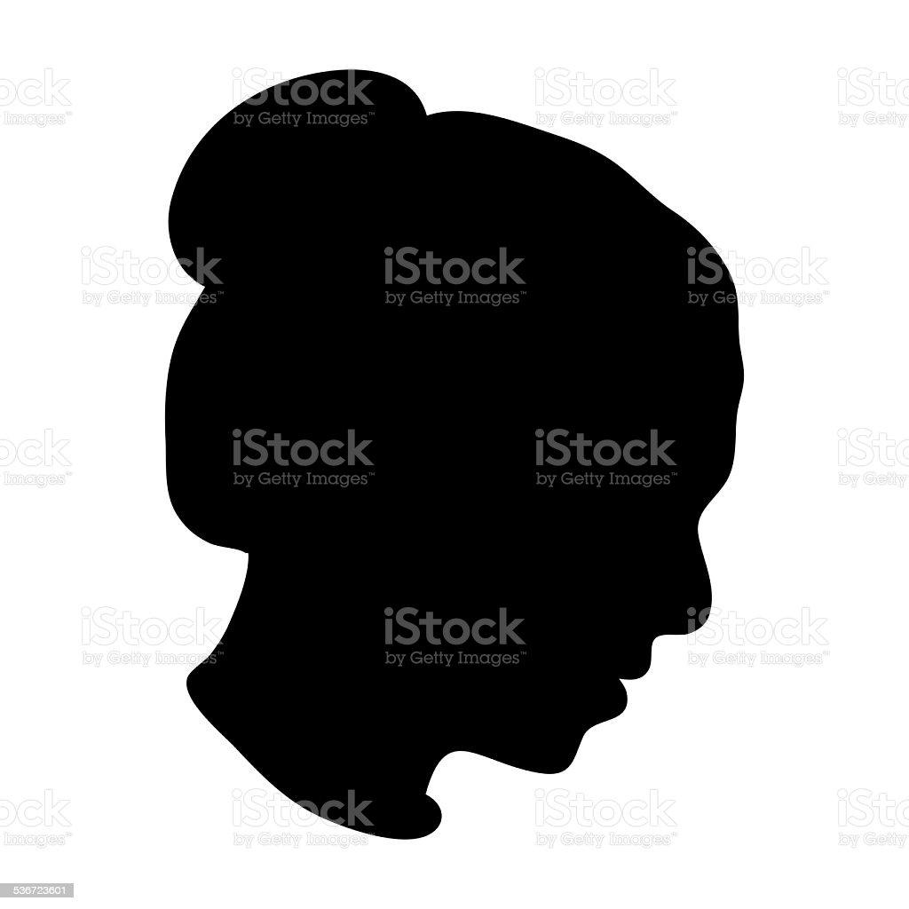 Silhouette of woman head vector art illustration