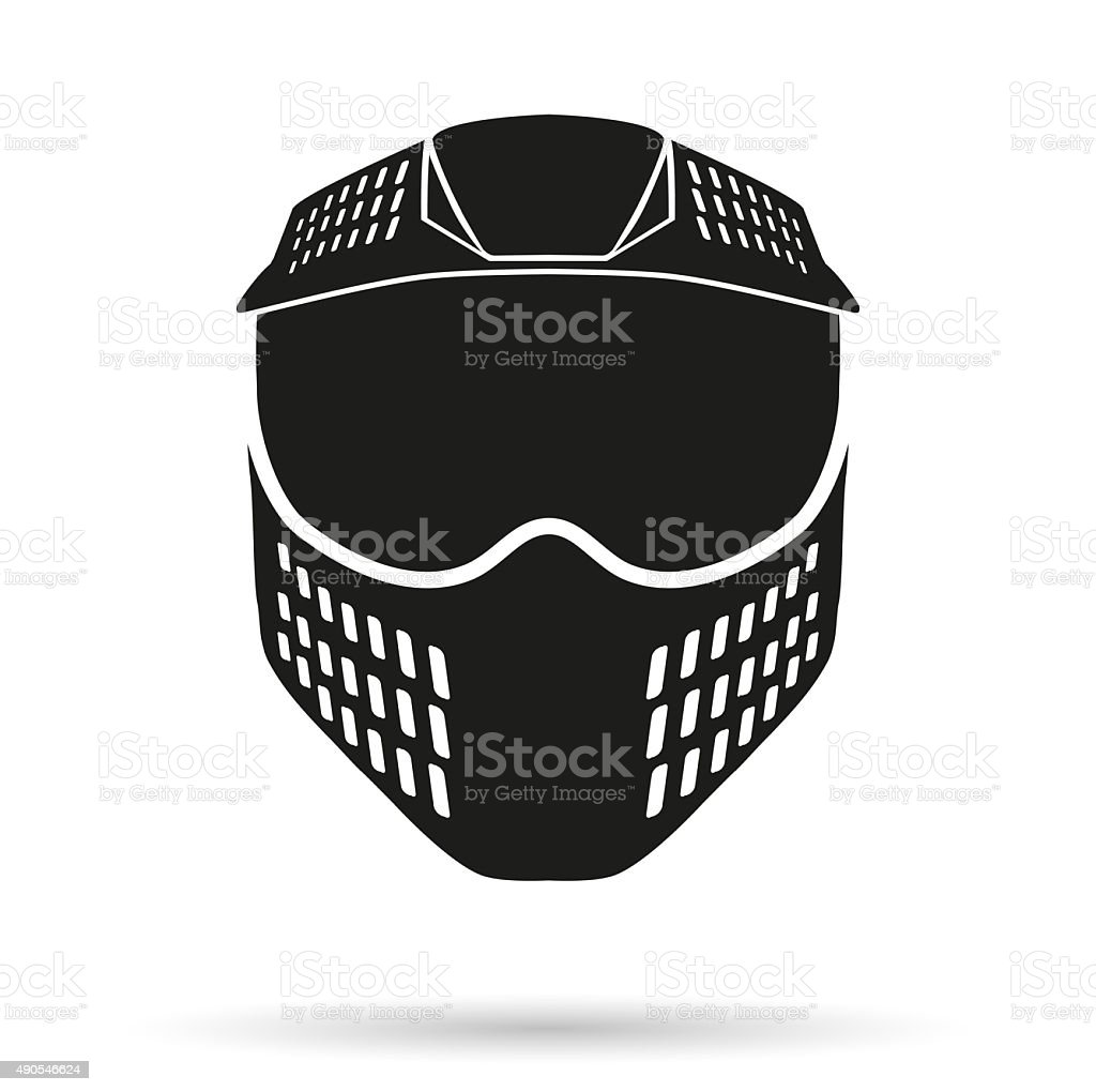 Silhouette symbol of paintball mask with goggles. Original design vector art illustration