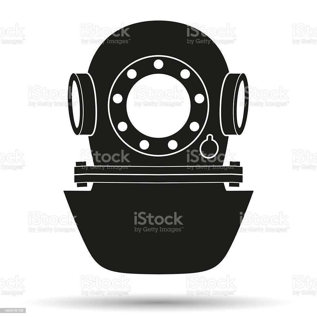 Silhouette symbol of Underwater diving helmet vector art illustration