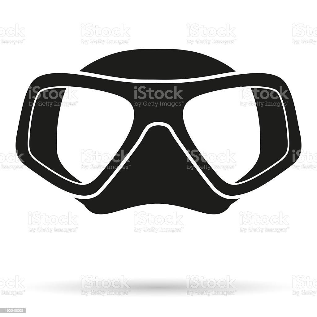 Silhouette symbol of Underwater diving scuba mask vector art illustration