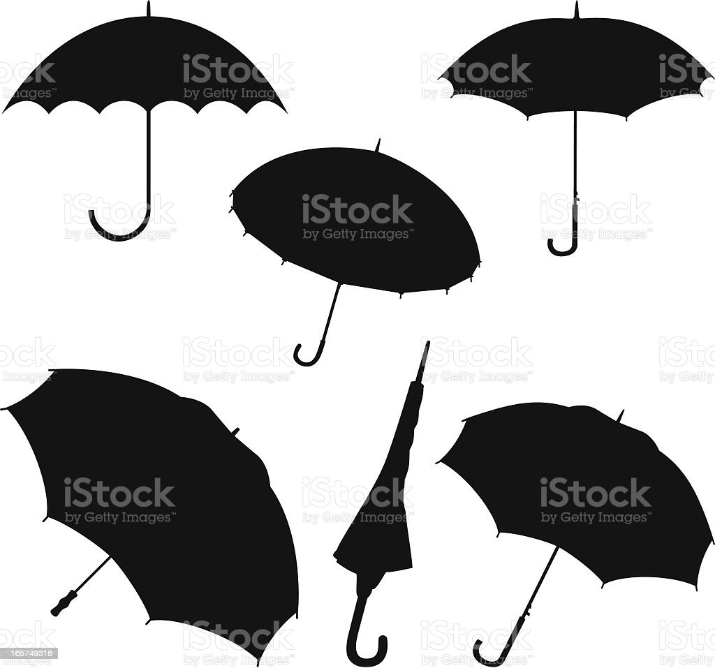 Silhouette umbrellas royalty-free stock vector art