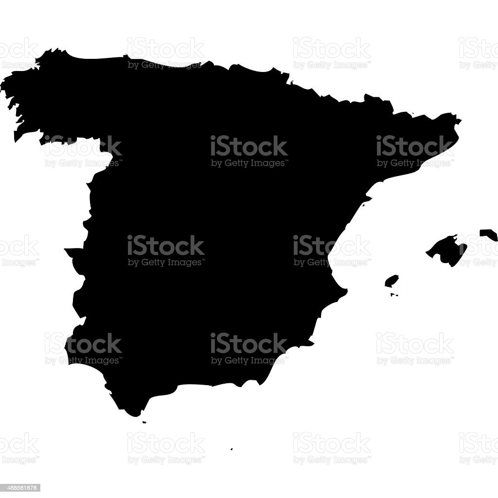 Silhouetted map of Spain on a white background vector art illustration
