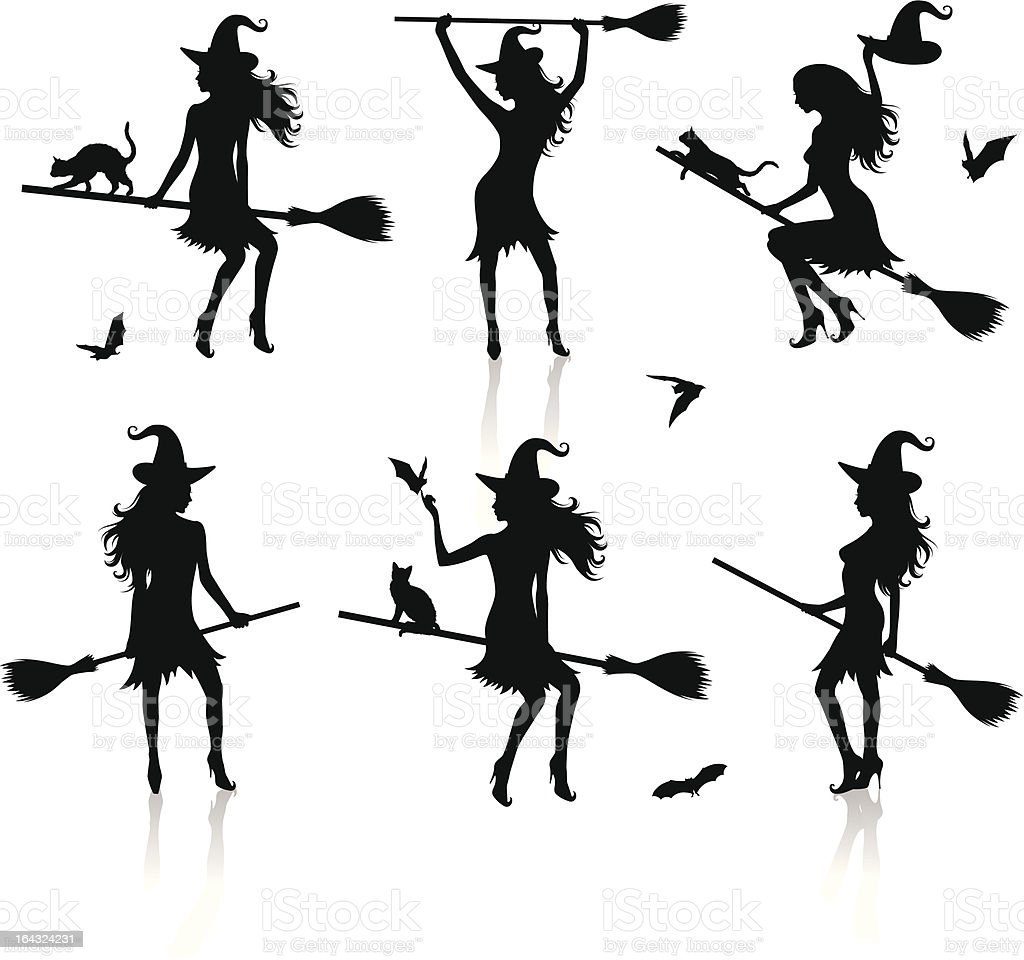 Silhouettes of a witch. vector art illustration