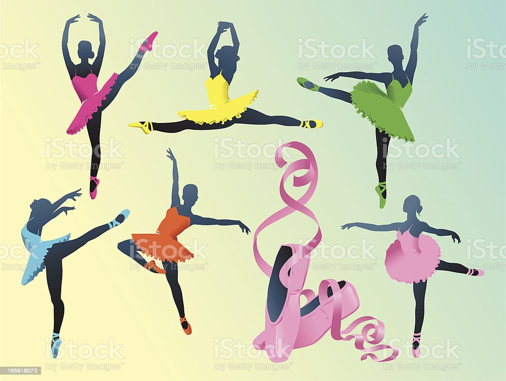Silhouettes of Ballerinas with Ballet Slippers royalty-free stock vector art