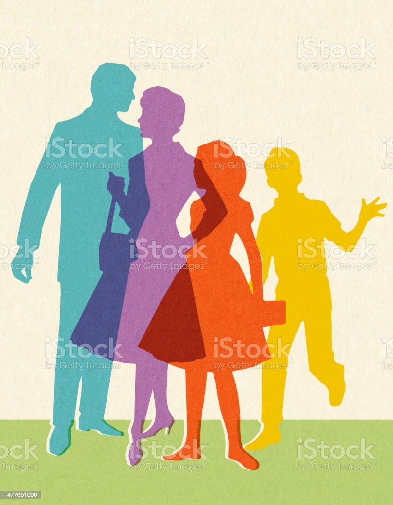 Silhouettes of Family vector art illustration