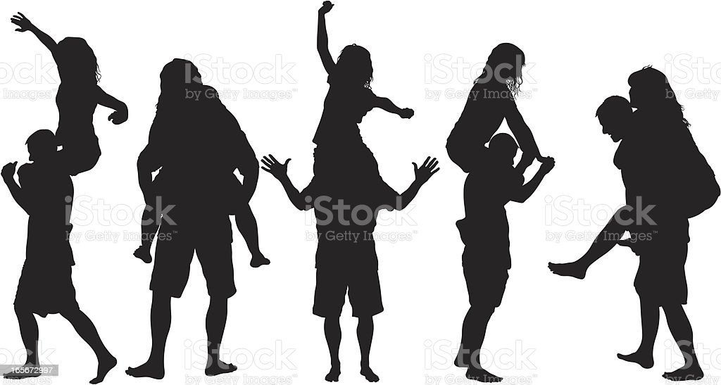 Silhouettes of guy giving girl a piggy-back ride vector art illustration