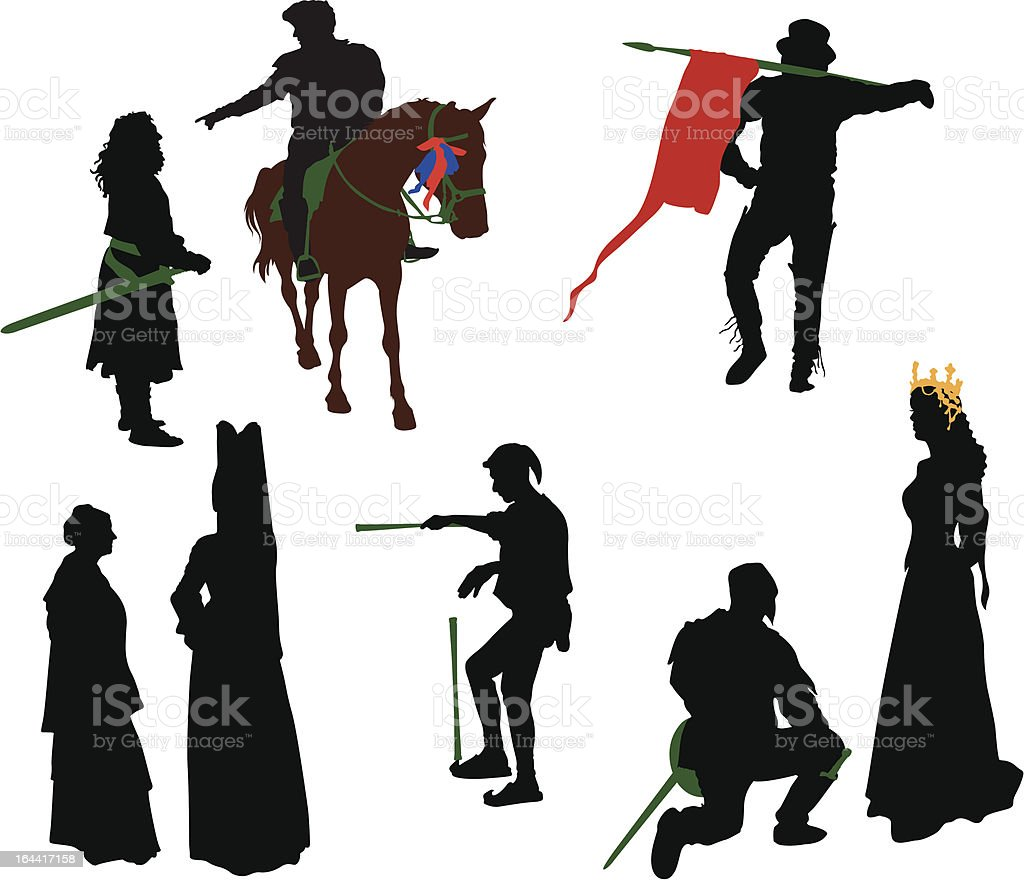 Silhouettes of medieval people. royalty-free stock vector art