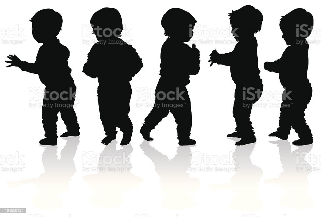Silhouettes of more babies walking vector art illustration