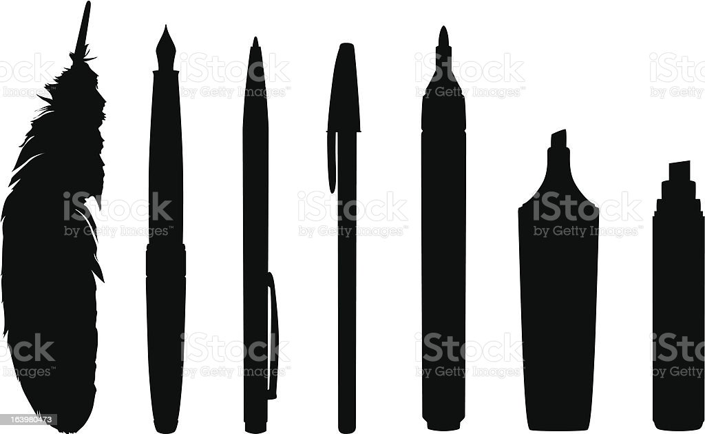 Silhouettes of pens and markers vector art illustration