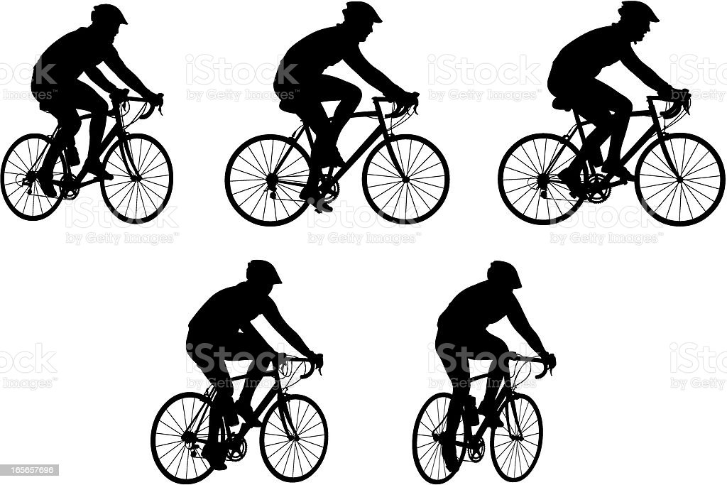 Silhouettes of people riding bicycles royalty-free stock vector art