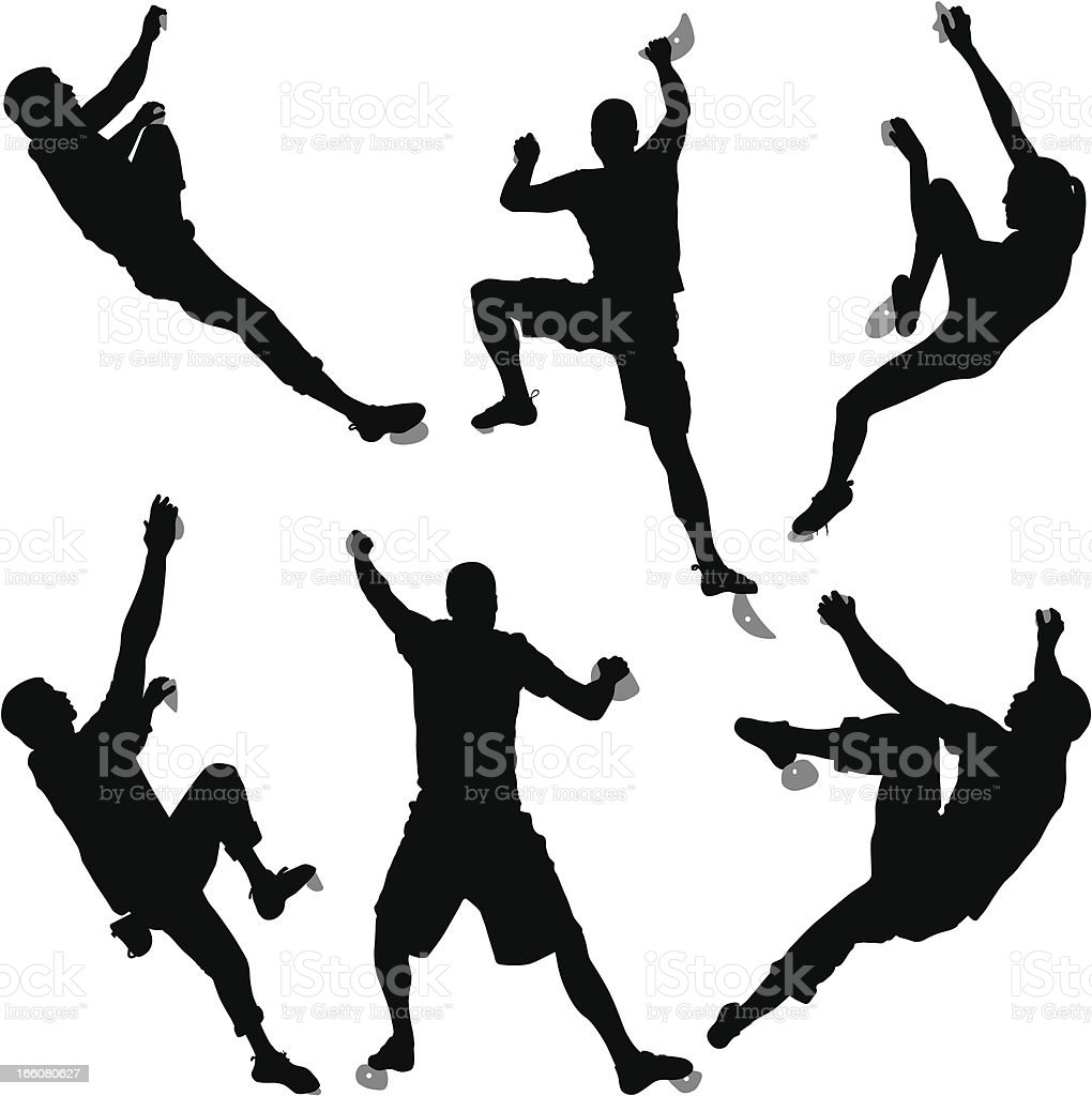 Silhouettes Of Six Climbers Bouldering At An Indoor Climbing Gym vector art illustration