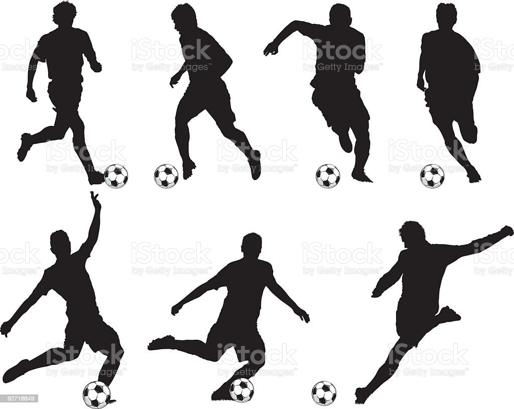 Silhouettes of soccer players vector art illustration