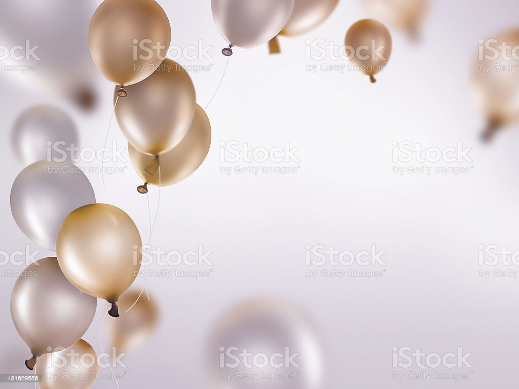 silver and gold balloons vector art illustration