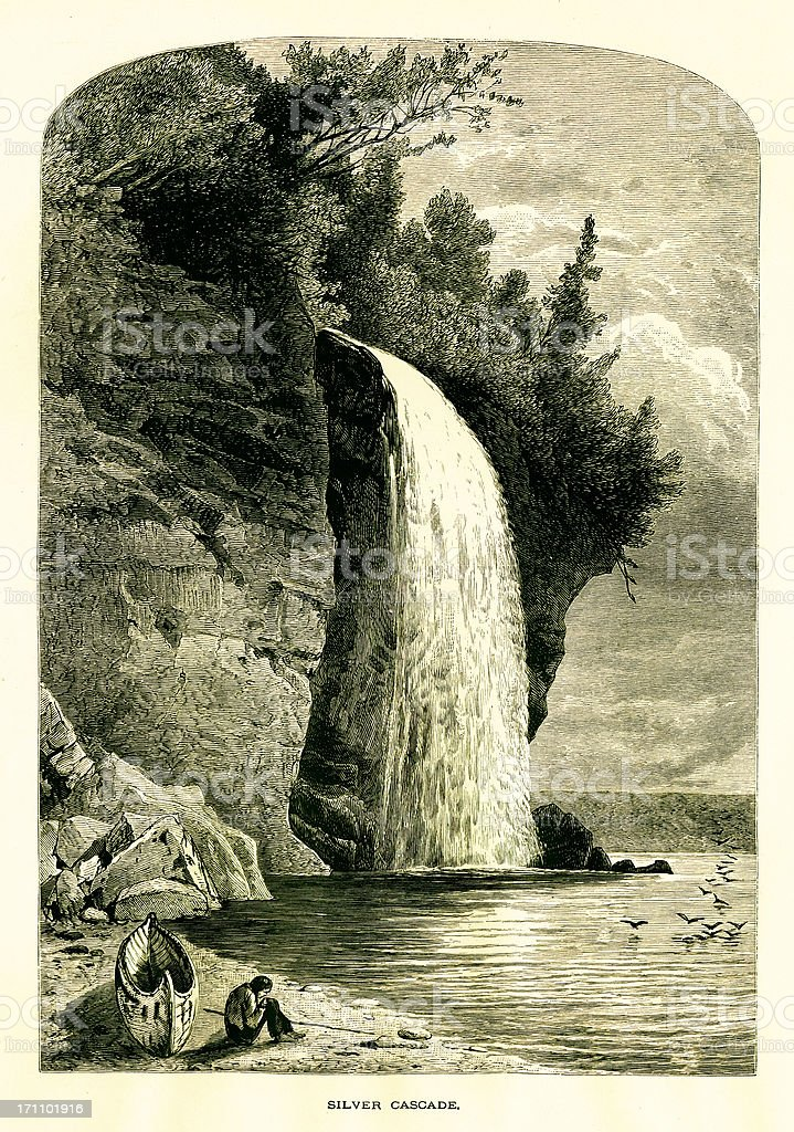 Silver Cascade, Lake Superior, USA vector art illustration