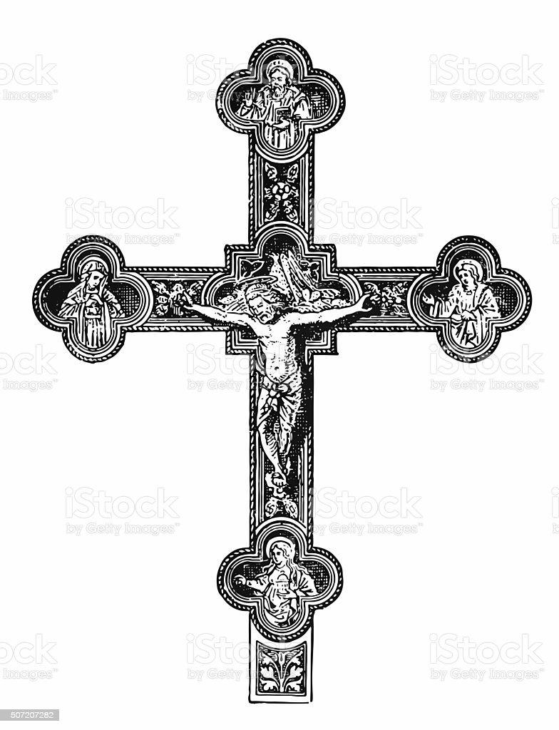 Silver Christian cross vector art illustration