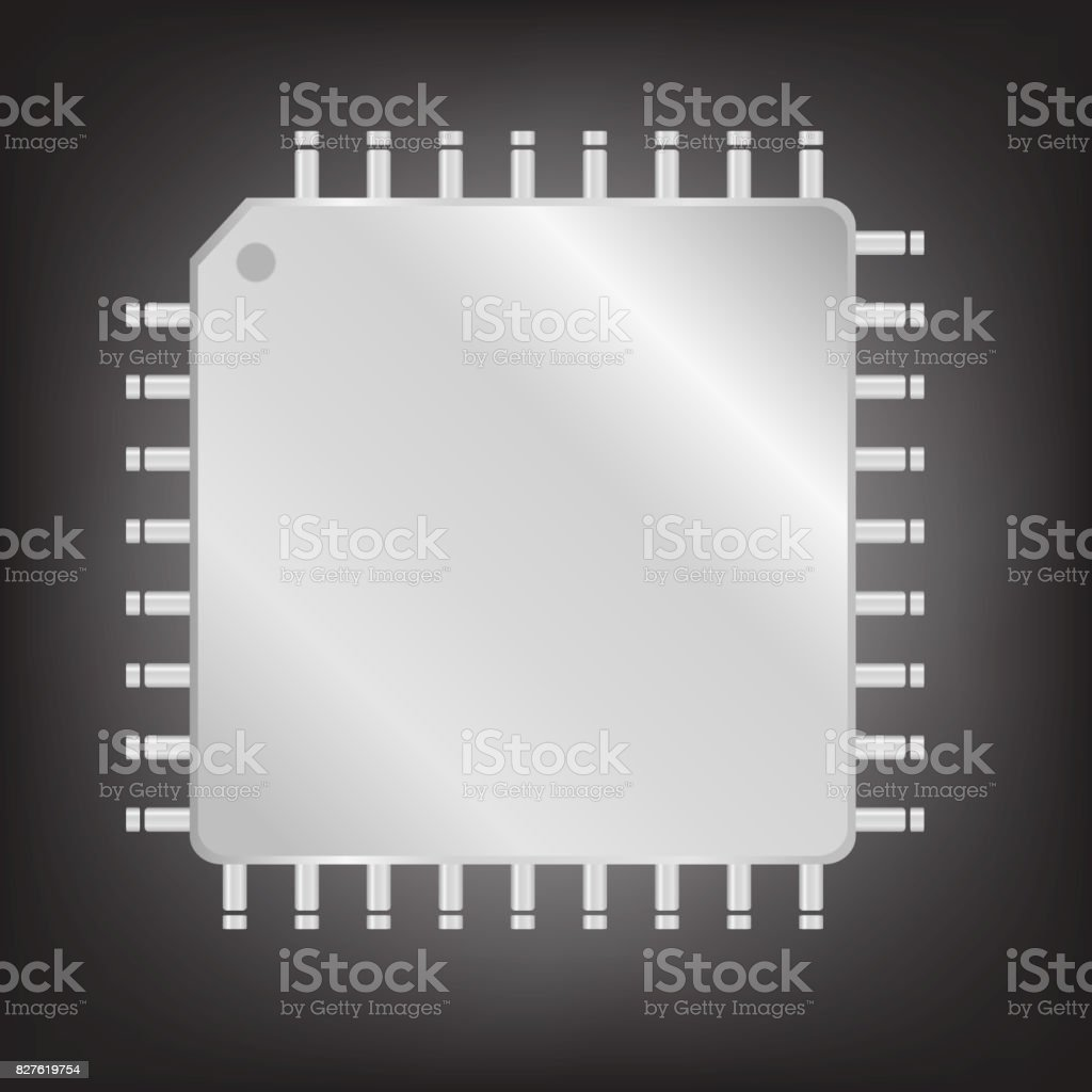 Silver CPU (central processing unit) vector art illustration