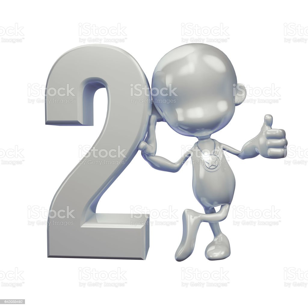 Silver Guy with number two stock photo