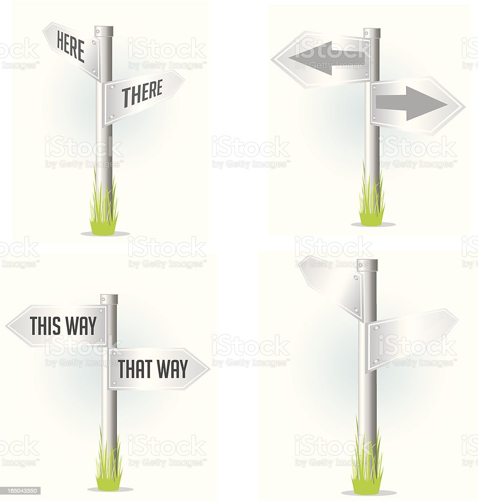 Silver Sign Posts vector art illustration