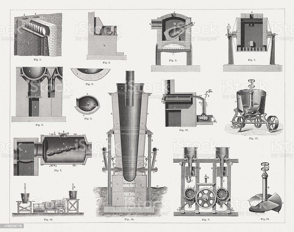 Silver smelting, published in 1878 vector art illustration