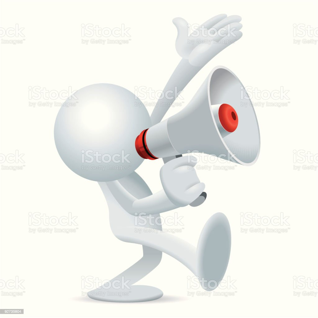Sim man walk and talk with Megaphone Right royalty-free stock vector art
