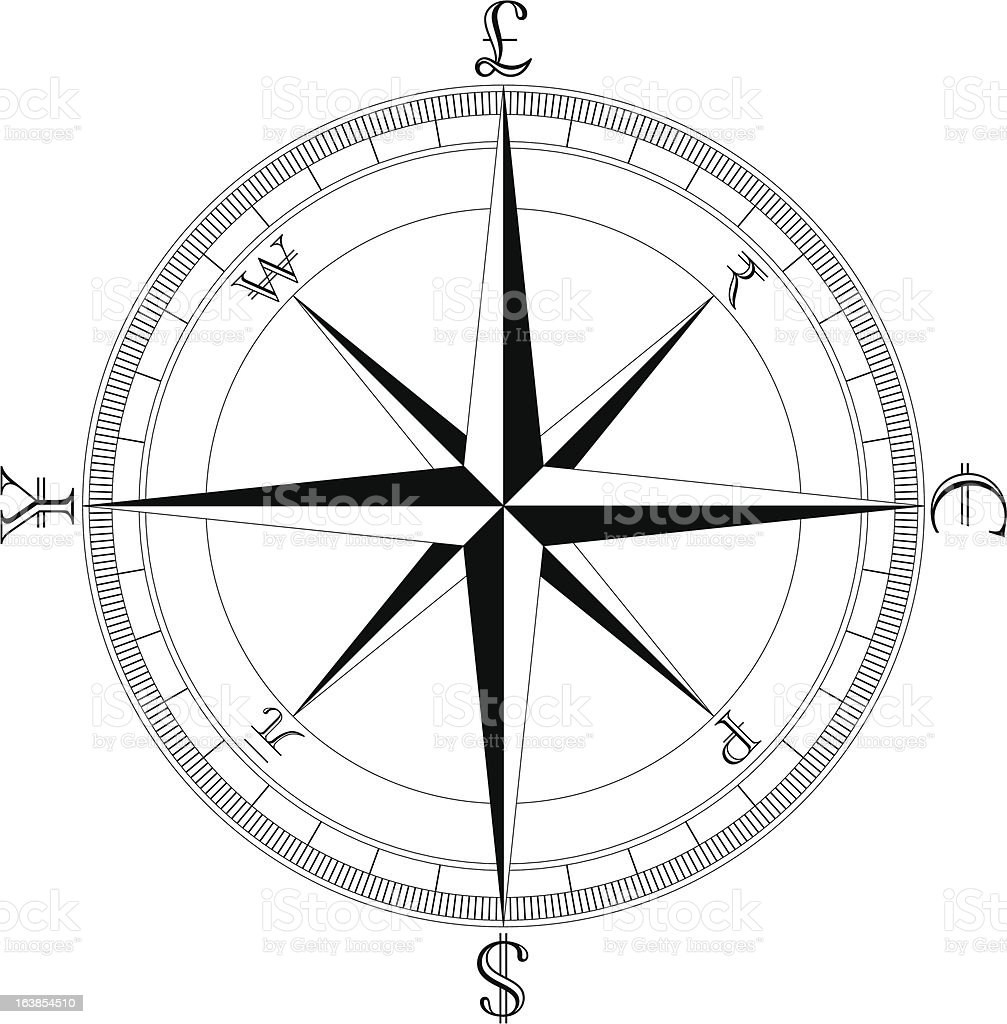 Simple Clean Currency Compass royalty-free stock vector art