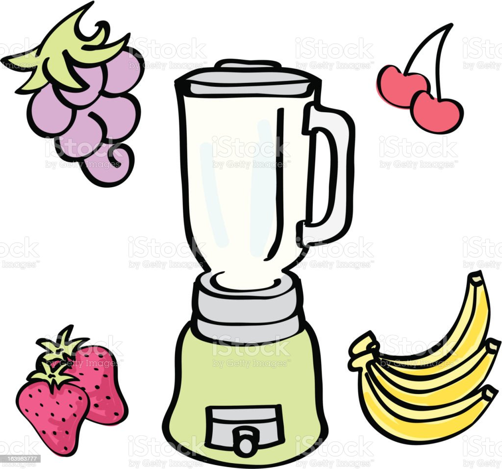 Simple Colorful Blender with Fruit royalty-free stock vector art