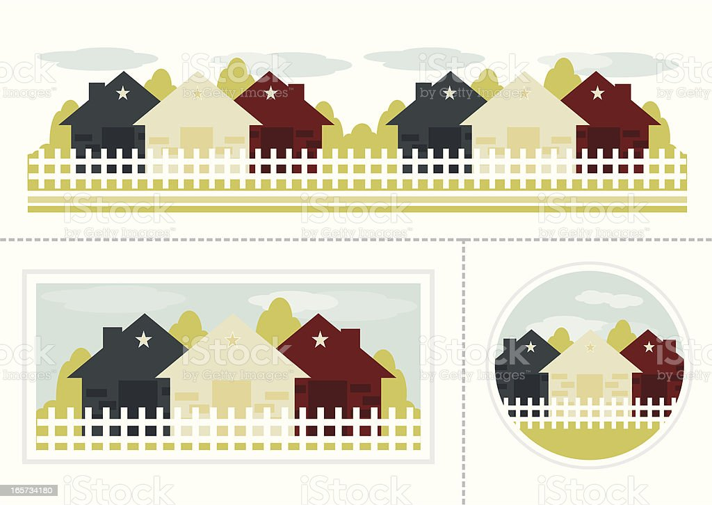 Simple Country Homes Set vector art illustration