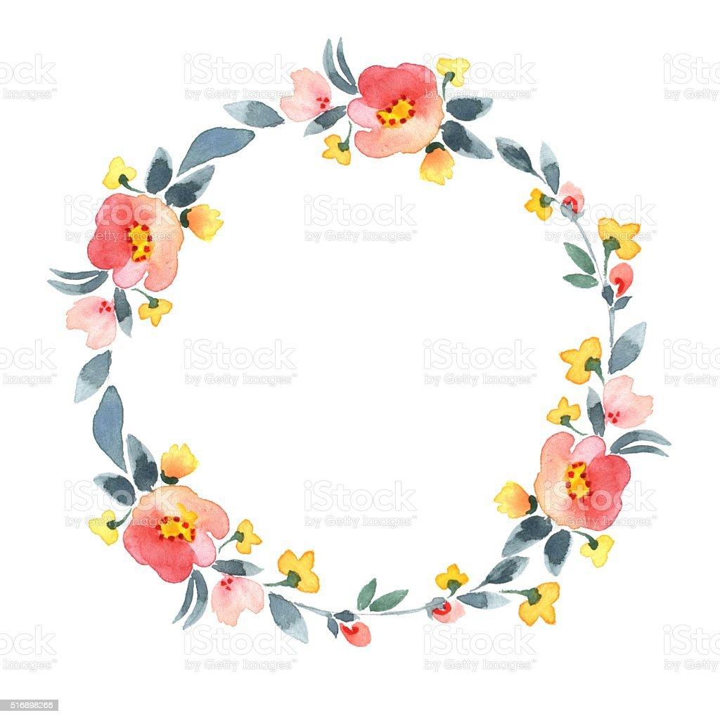 Simple floral wreath. Watercolor flowers 2 vector art illustration