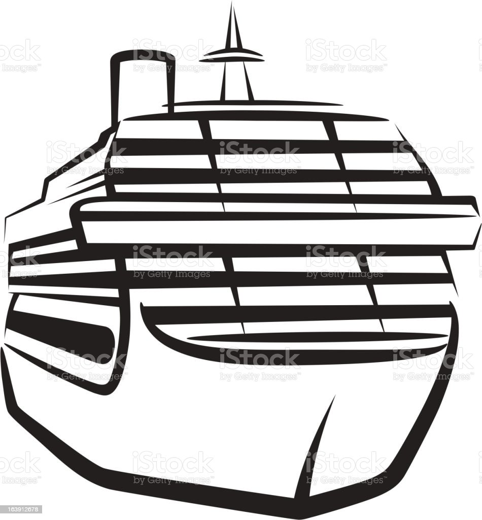 simple illustration with a ship royalty-free stock vector art
