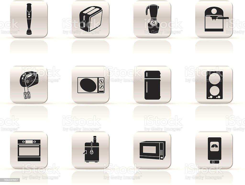 Simple Kitchen and home equipment icons royalty-free stock vector art