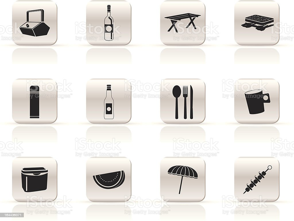 Simple Picnic and holiday icons royalty-free stock vector art