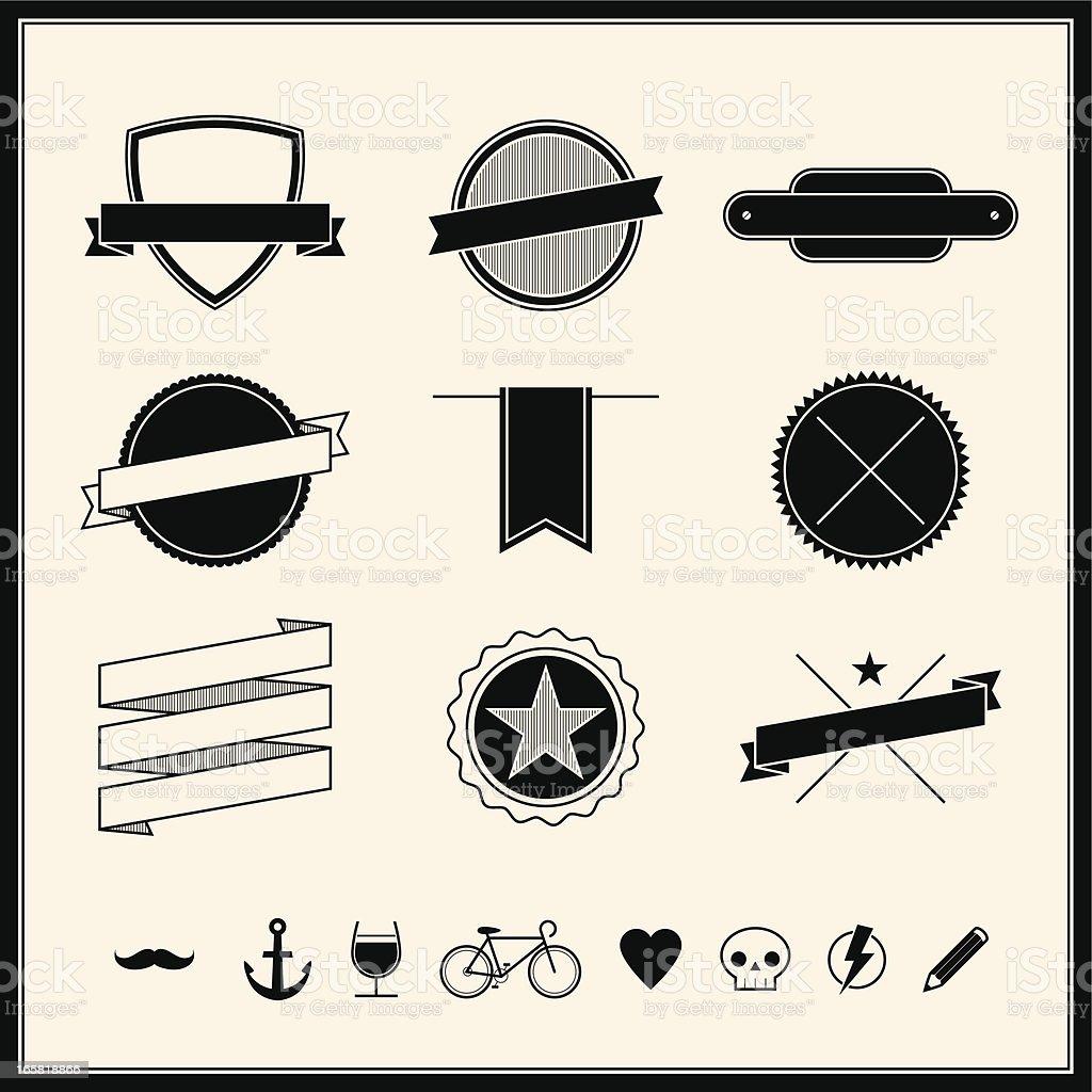 Simple Retro Design Elements vector art illustration