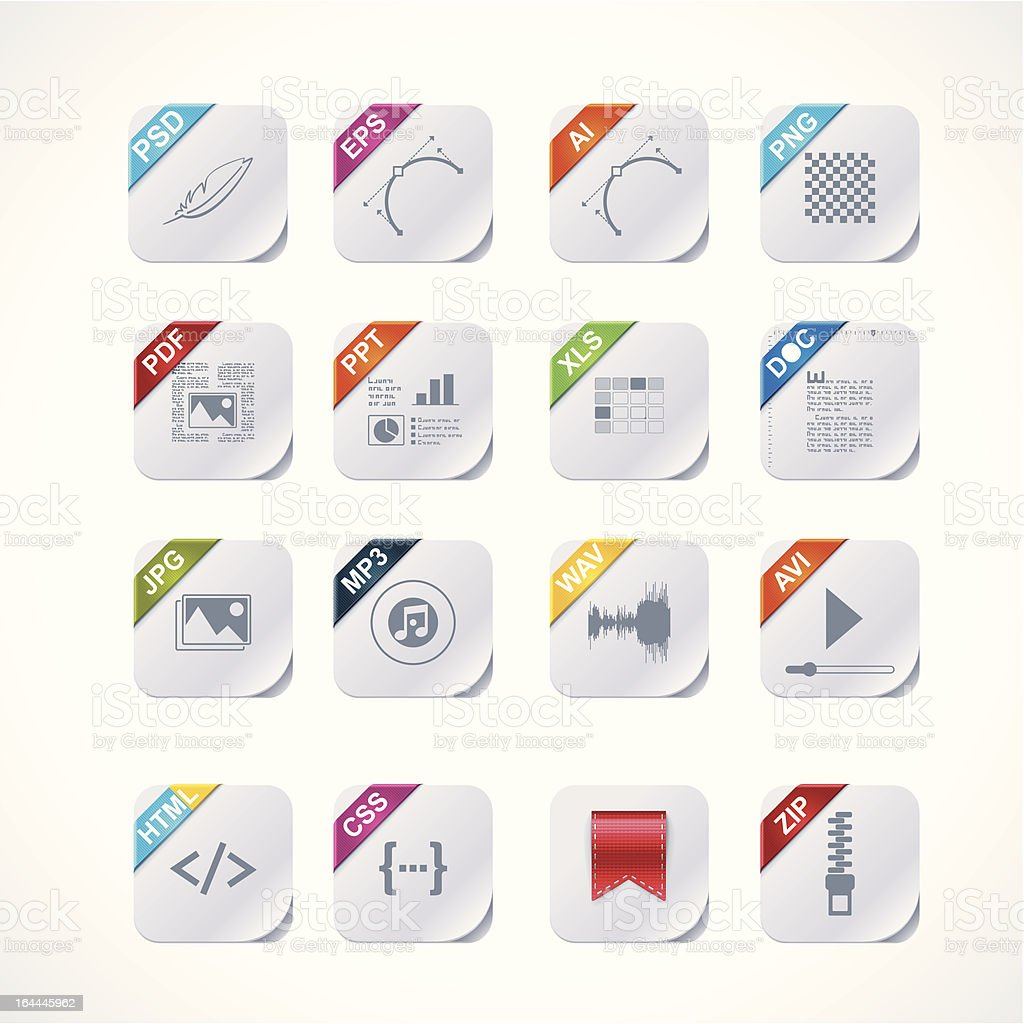 Simple square file labels icon set royalty-free stock vector art