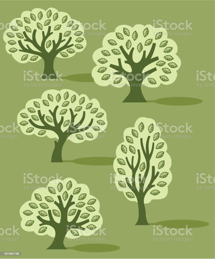Simple tree collection royalty-free stock vector art