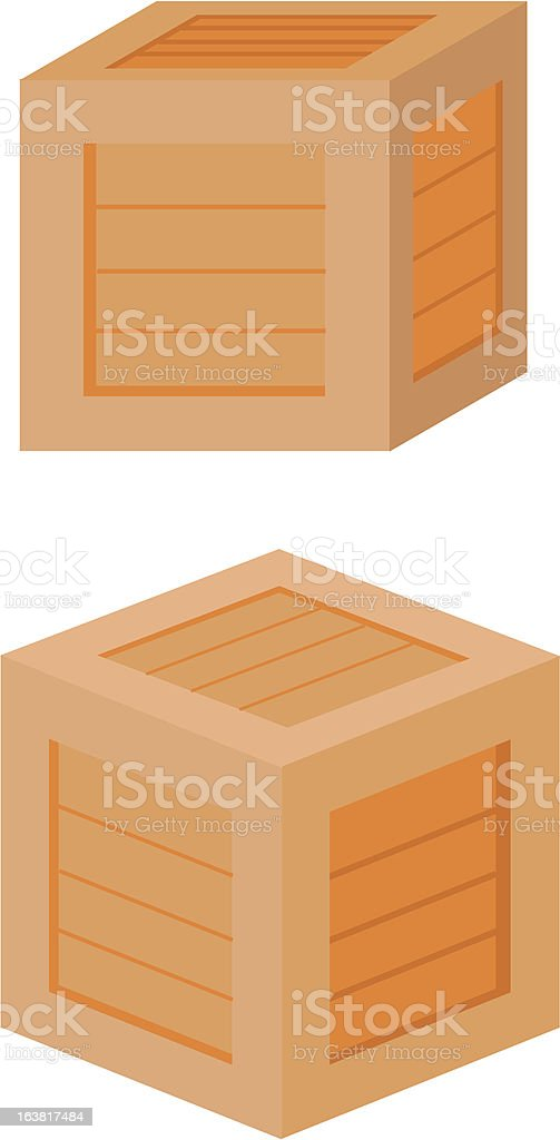 Simple wooden crates vector art illustration