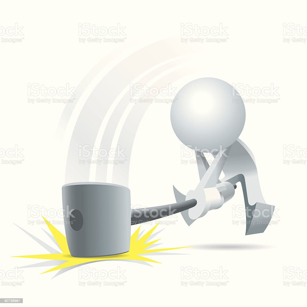 Simplified man the giant hammer royalty-free stock vector art