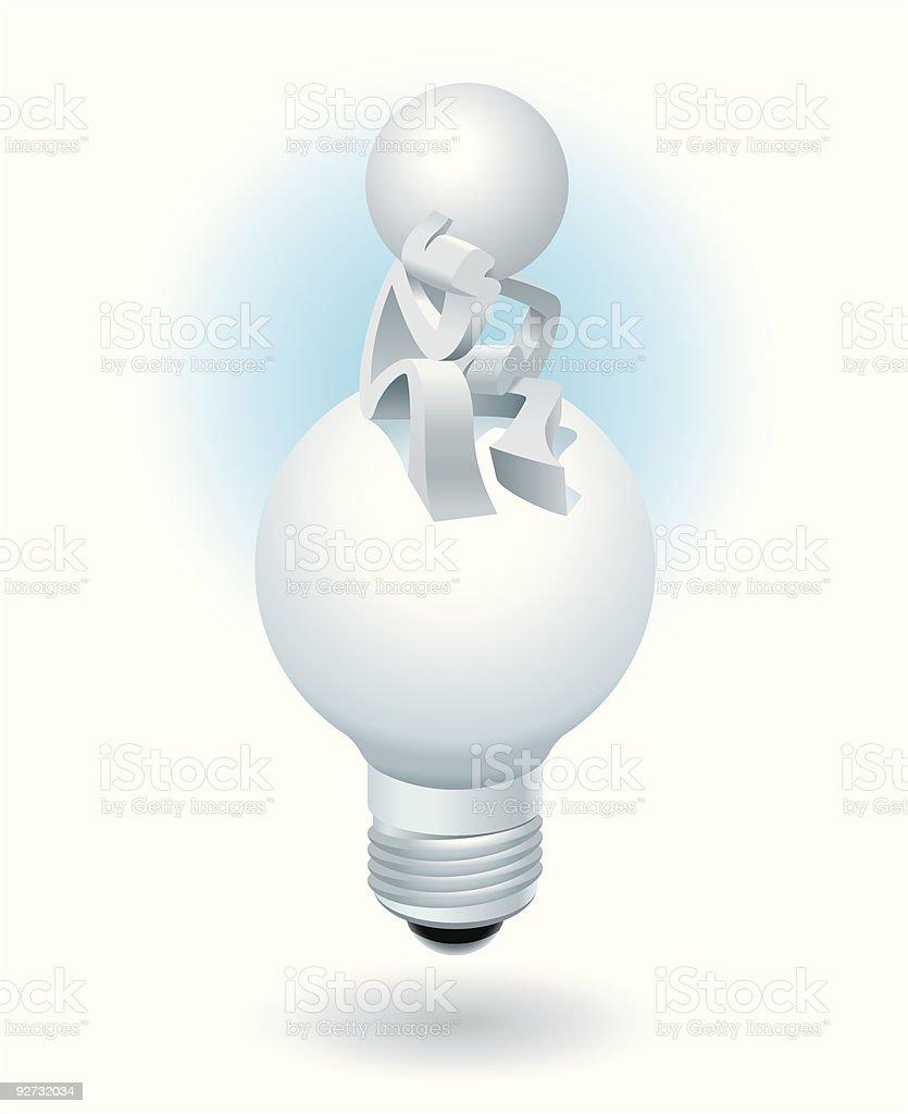 Simplified man Thinking New Ideas royalty-free stock vector art