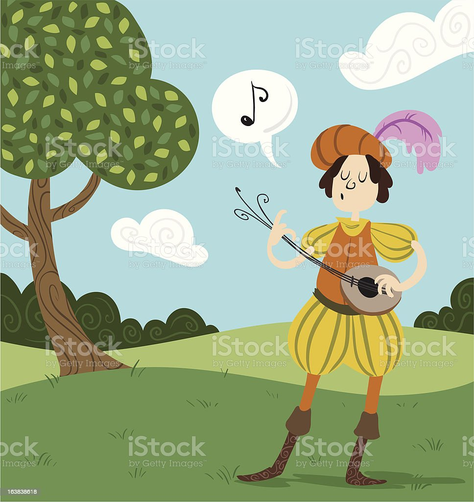 Singing Bard vector art illustration