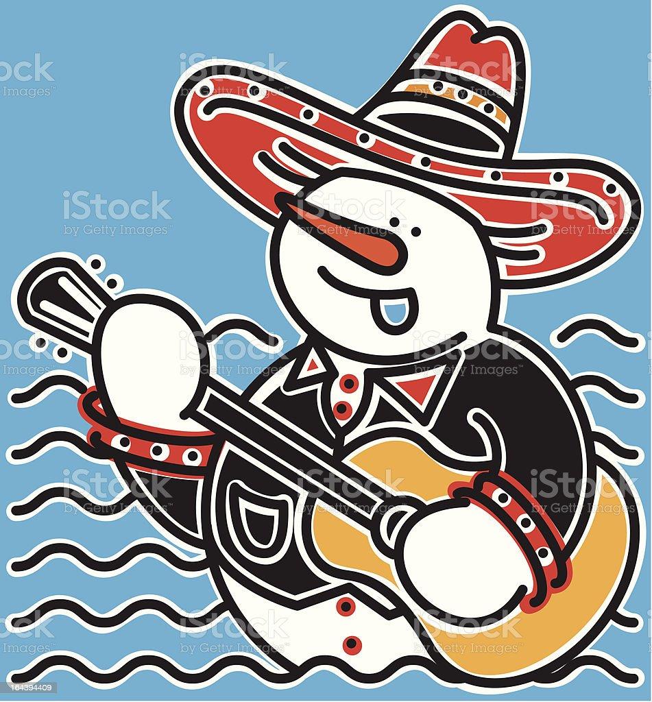 Singing Mariachi Snowman & Guitar royalty-free stock vector art